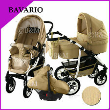 Travel system in 3 colors pram pushchair stroller buggy car seat 3in1 for baby