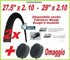 "2 x Copertoni 27,5"" x 2.00 - 29"" x 2.10 Rigido/Tubeless Mountain Bike + 2 CAMERE"
