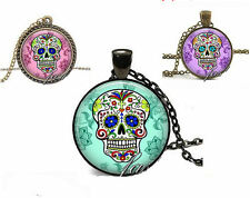 Mexican Sugar Candy Skull Necklace, Zombie, Day of the Dead, Emo, Gothic Kitsch