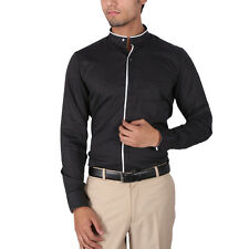 Warewell Men's Slim Fit Pure Cotton Black Shirt(FS2772-A)