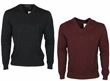 MENS FRENCH CONNECTION KNITWEAR 58BTR V-NECK BLUE BURGUNDY SWEATER SIZES S - 2XL