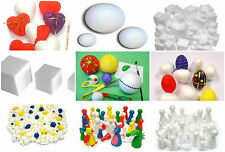 White Polystyrene 3D Solid Craft Cubes people Cone Puppets Balls Eggs