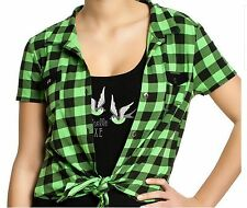 Pussy Deluxe Bluse Green Plaid Shirt