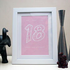 PERSONALISED 1st 18th 21st 30th 40th 50th WORD ART PRINT BIRTHDAY PRESENT GIFT