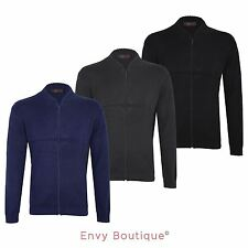 New Mens Knit Zipped Sweatshirt Plain Knitted Zip Up Jumper Cardigan Top