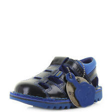Boys Kids Kickers Kick Sundal Infant Dark Blue Leather Navy Sandals Sz Size