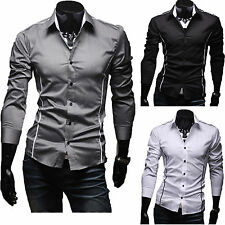 Herren Hemd Poloshirt Langarm Business Formal Slim Fit Figurbetont Polo T-Shirt