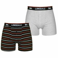 MENS LONSDALE BOXERS SIDE FLY BOXERS MENS UNDERWEAR 2 PACK CHARCOAL / BLACK