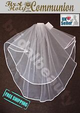 Girls 2 Tier White First Holy Communion Veil with Diamante or SS16 Crystals