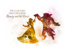 ART PRINT Beauty and the Beast Dance Quote illustration, Disney, Princess, Gift