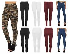 Womens Ladies Ripped Skinny Leg High Waist Stretch Jeans Plain Camouflage