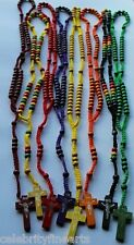 Colourful Rosary with Cross Black Yellow Multicolour Purple Green Orange Red NEW
