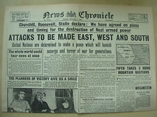 NEWS CHRONICLE WWII NEWSPAPER DECEMBER 7th 1943 ALLIES ATTACK EAST WEST & SOUTH