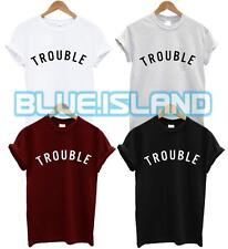 TROUBLE T SHIRT HIPSTER TUMBLR FASHION CELFIE ISSUES PROBLEM SWAG DOPE UNISEX