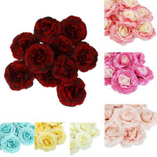 10Pcs Artificial Camellia Flowers Heads For Bride Hair Clip Brooch DIY Crafts