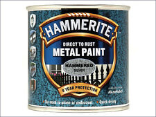 Direct to Rust Hammered Finish Metal Paint Silver 250ml Hammerite