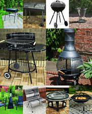 Large Charcoal Steel Trolley Garden Barbecue BBQ Grill & Chimnea Wood Burner