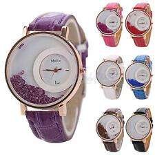 Women Watch Stainless Steel PU Leather Band Quartz Analog Quicksand Wrist Watch