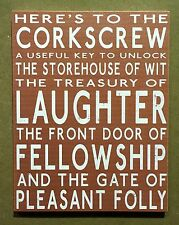 Corkscrew Laughter Fellowship - Large Wooden Signs
