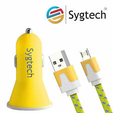 Dual USB Car Charger with Micro usb V8 Sync Charger Lead 1M for Android Mobile.