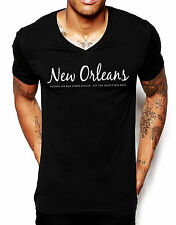 New Orleans V Neck T Shirt Top Print Text Black Cotton Mens Holiday Summer Man