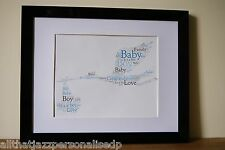 Personalised Word Art Print New Baby Birth Boy Girl celebration gift Frame