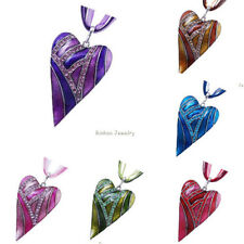 Women Gifts Charm Fashion Heart Jewelry Crystal Sweater Chain Necklace Pendant