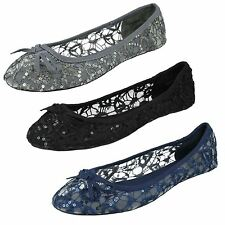Ladies Spot On Casual Flat Sequin Dolly Shoes Style-F80085