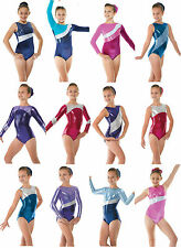 Metallic Gymnastics Leotards Lycra Velvet Gym Leotards Girls Dance Show UK Made