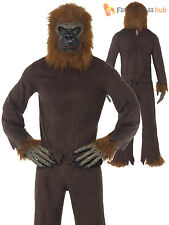 Adults Ape Costume Mens Ladies Monkey Fancy Dress Animal Gorilla Novelty Outfit