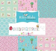 Teddy Bears Picnic Riley Blake Fabric Pink Blue Quilting Sewing Patchwork