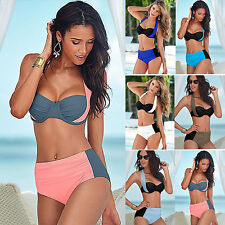 Sexy Damen Bandeau Bikini Sets Push Up Padded Split Badeanzug Neckhoder Bademode