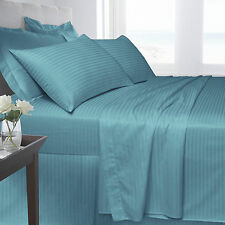 Stripe Fitted Flat Duvet Quilt Cover Pillow Cases Aqua Bedding 250 TC 100% Satin