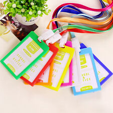 1x Plastic ID Name Card Holder Case Badge Lanyard Neck Strap Necklace Strap EW