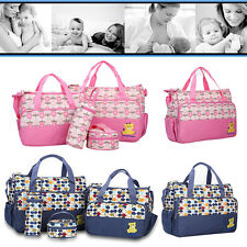 5pcs Nappy Diaper Baby Changing Bag Mat Insulated Bottle Holder Large Wipe Clean
