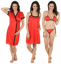 Fasense Women Satin Nightwear 4 PCs Set of Nighty, Robe, Bra & Thong DP100 C