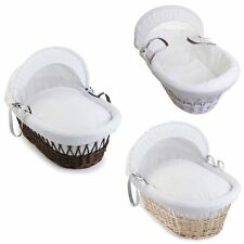Izziwotnot Baby / Bedtim White Wicker Classic Waffle Moses Basket - From Birth