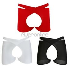 Sexy Mens Sheer See-through Crotchless Open Crotch Shorts Boxer Briefs Underwear