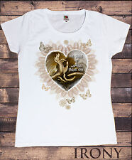 Womens White T-Shirt,Om Shanti, Shanti Om Zen Hands Love Heart Yoga Buddha Print