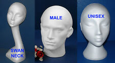 POLYSTYRENE FOAM MANNEQUIN DISPALY HEAD MALE FEMALE SWAN UNISEX NECK
