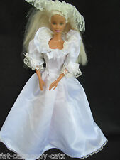 BARBIE DOLL SIZED VICTORIAN STYLE SLEEVED WHITE 3 PIECE WEDDING DRESS VEIL TRAIN