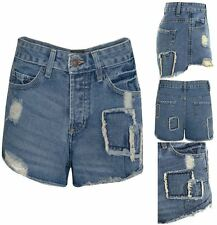 Womens Denim Mid Wash Jeans Ripped Patch Summer Vintage Hotpants Shorts