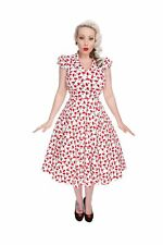 Hearts And Roses Womens White Cherry Blossom Dress V Neck Vintage Rockabilly