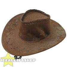 BROWN FAUX SUEDE COWBOY HAT COWGIRL ADULTS WESTERN WILD WEST FANCY DRESS HATS