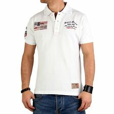 GEOGRAPHICAL NORWAY GANGSTER UNIT Herren Polo Shirt Korigan White