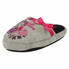 Girls Disney Hannah Montana grey/pink  slip on slippers