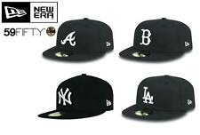 NEW ERA - 59FIFTY BLACK CAP. (Yankees, Dodgers, Red Sox, Braves) FREE POSTAGE.