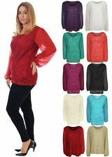 Womens Plus Size Lace Lined Chiffon Long Sleeve Floral Sheer Tunic Top