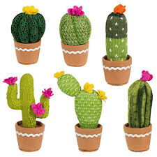 Sass & Belle Colourful CACTUS   Knitted Fabric Faux PLANT   Plant Pot Decoration