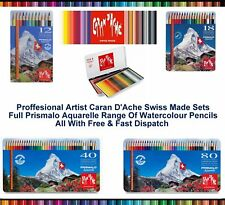 Caran Dache Prismalo Aquarelle Artist Watercolour Pencil Colour Metal Case Set